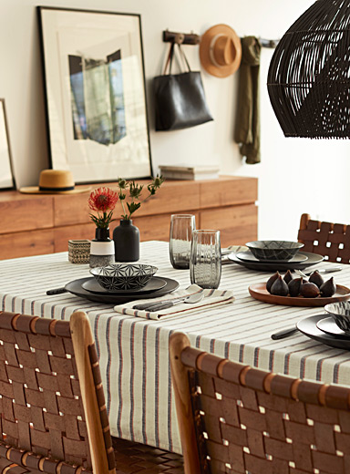 Desert stripe woven cotton tablecloth