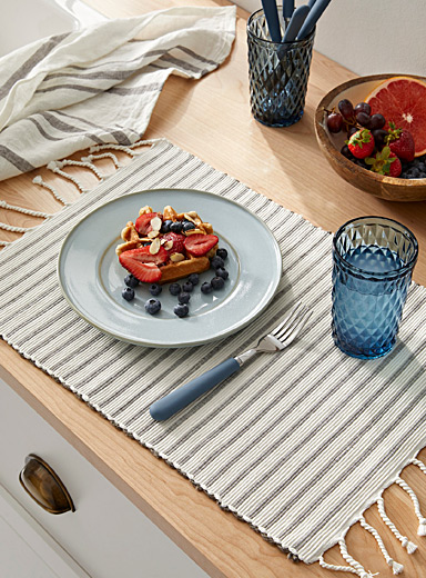 Breakfast on the Mediterranean cotton weave placemat