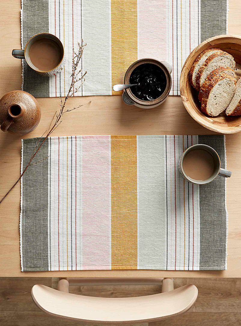 Simons Maison Assorted Light of dawn woven organic cotton placemat