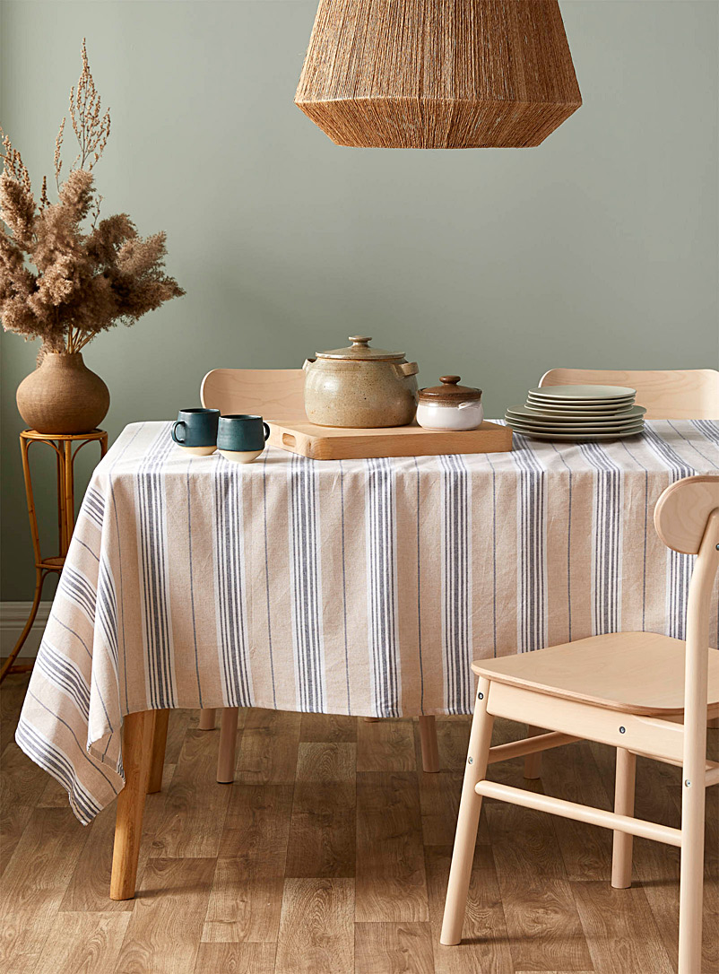 Simons Maison Patterned Ecru Denim stripe woven organic cotton tablecloth
