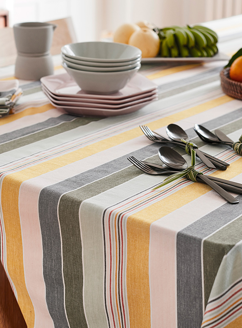 Light of dawn woven organic cotton tablecloth - Woven - Assorted