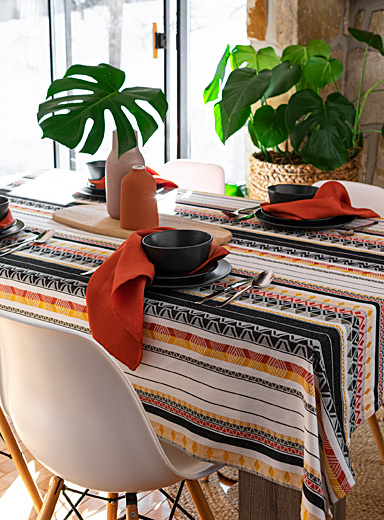 Ankara jacquard woven cotton tablecloth