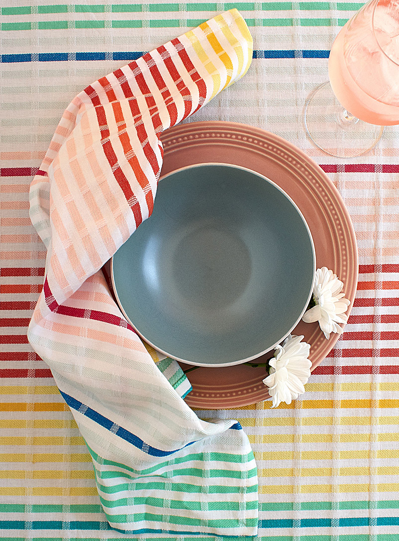 Simons Maison Assorted Rainbow-coloured woven cotton napkin