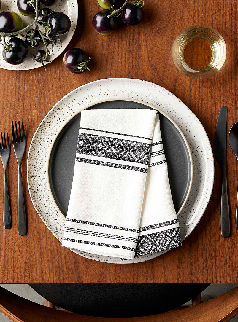 Simons Maison Black and White Jacquard stripe organic cotton napkin