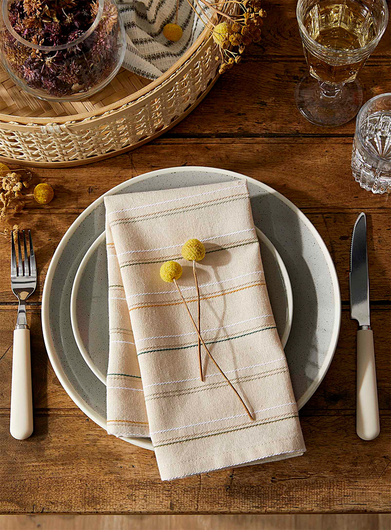 Simons Maison Assorted Nature stripe organic cotton napkin
