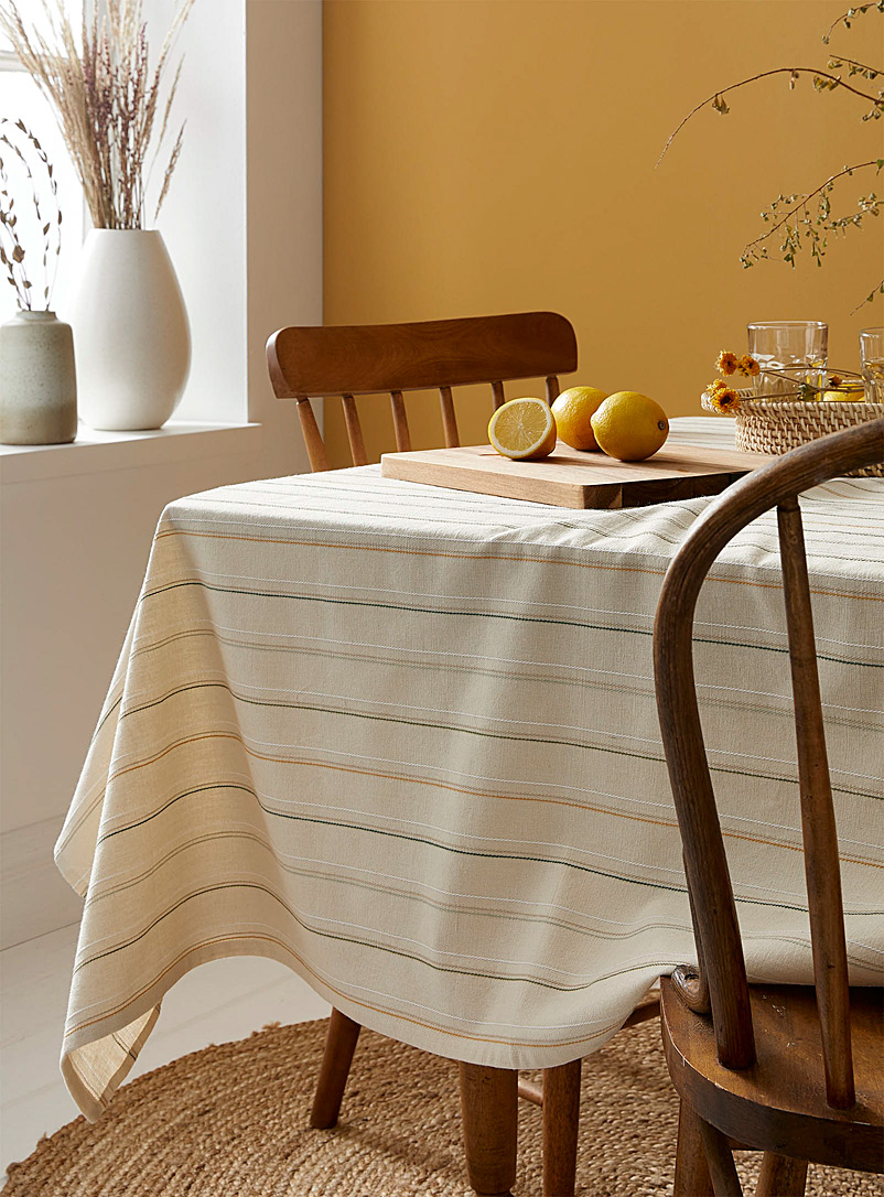 Simons Maison Assorted Nature stripe organic cotton tablecloth