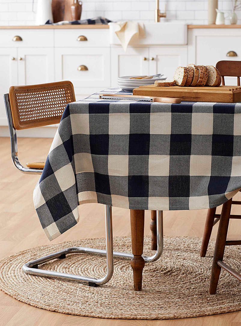 Simons Maison Patterned Blue Gingham check organic cotton tablecloth