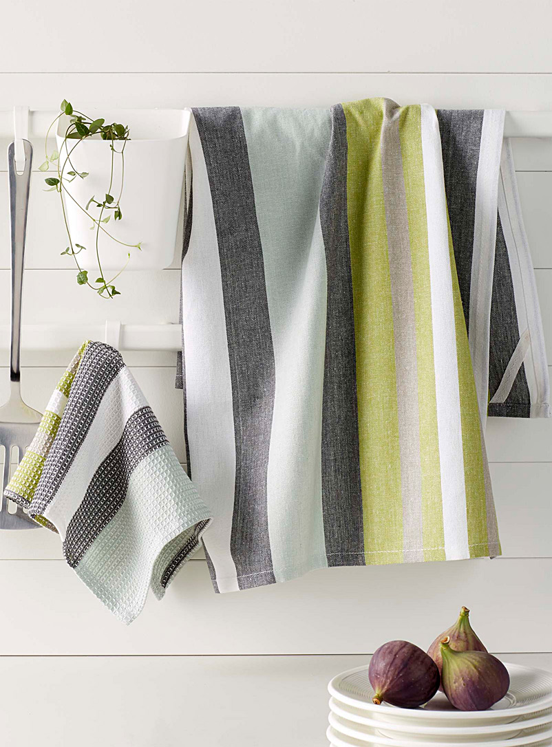 Chambray stripe tea towels - Kitchen Linens - Assorted