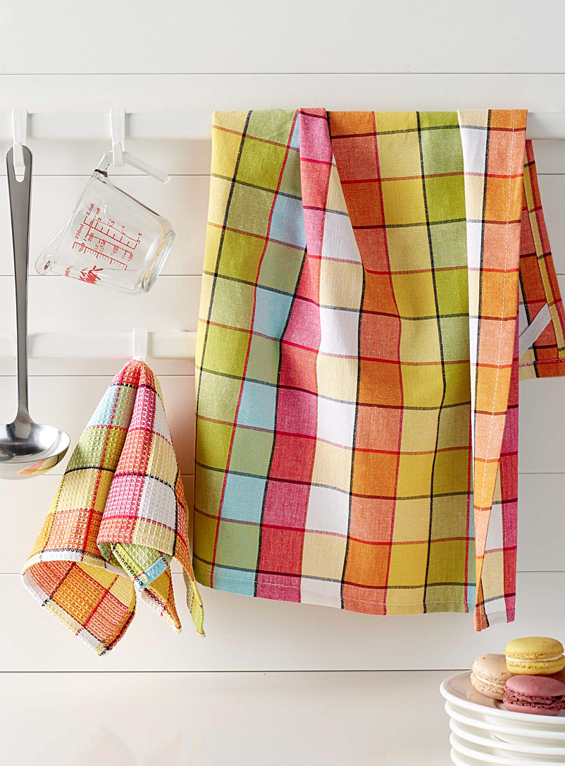 Simons Maison Assorted Vibrant check tea towels