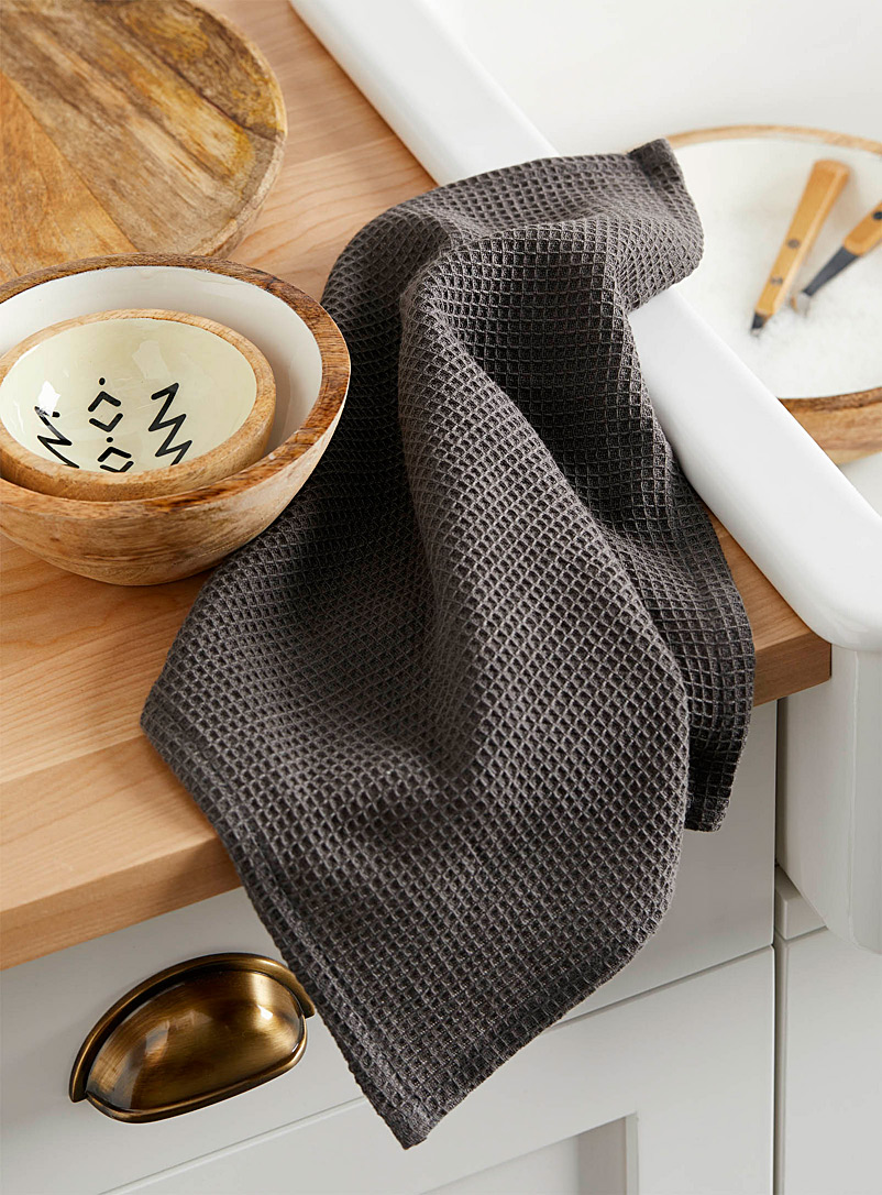 Solid waffle dishcloth - Kitchen Linens - Grey