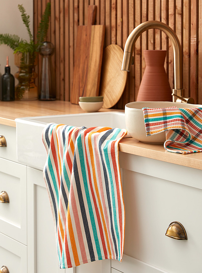 Vibrant striped tea towels