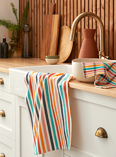Vibrant striped organic cotton tea towels