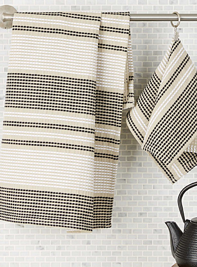 Natural striped tea towels