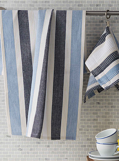 Chambray stripe tea towels