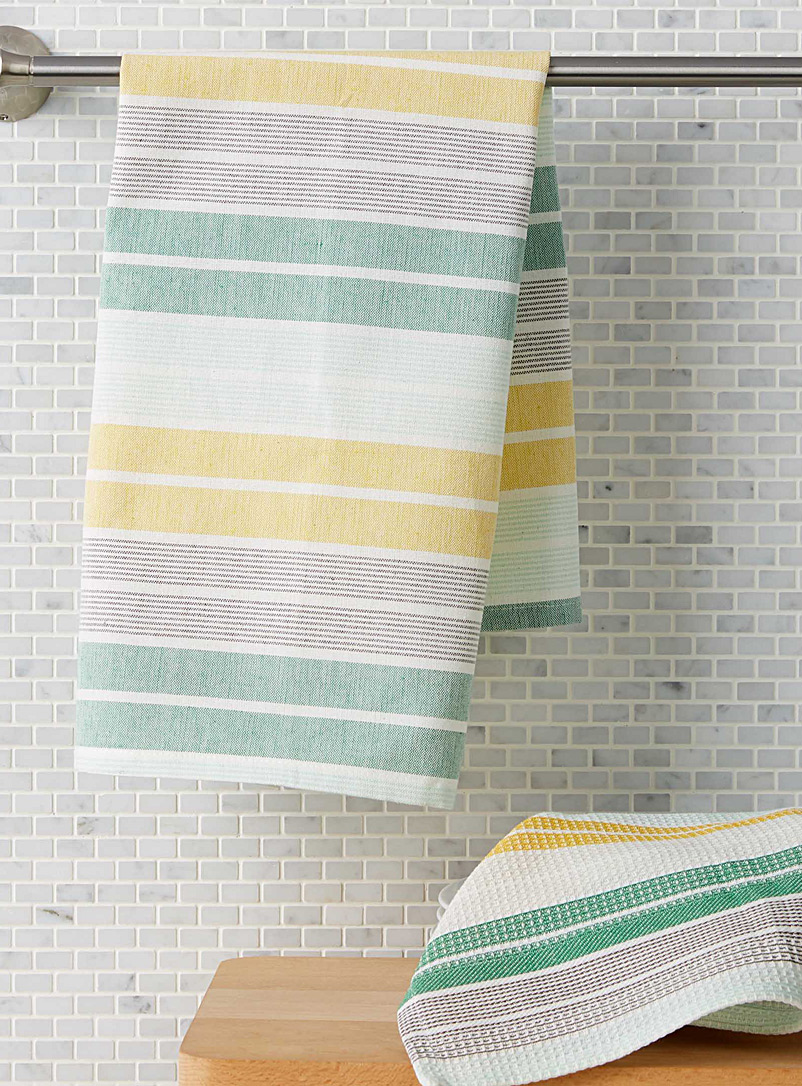 Green striped tea towels - Kitchen Linens - Assorted