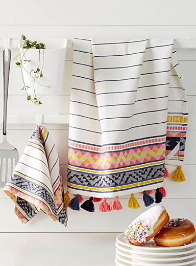 Folk stripe tea towels