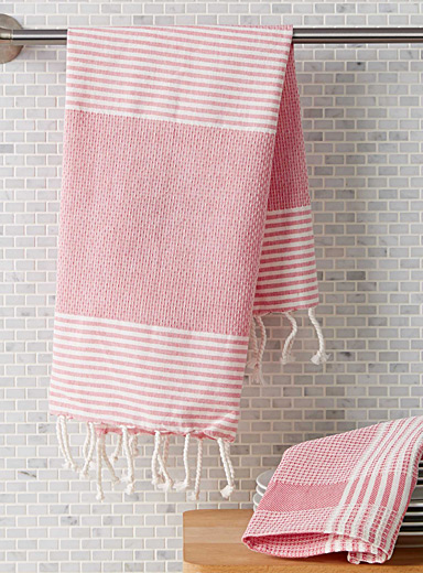 Les linges fouta rayures corail