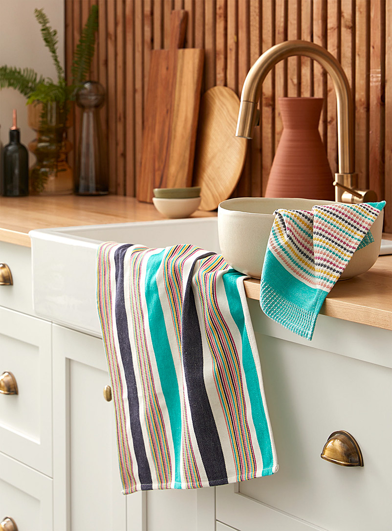Tropical stripe organic cotton towels