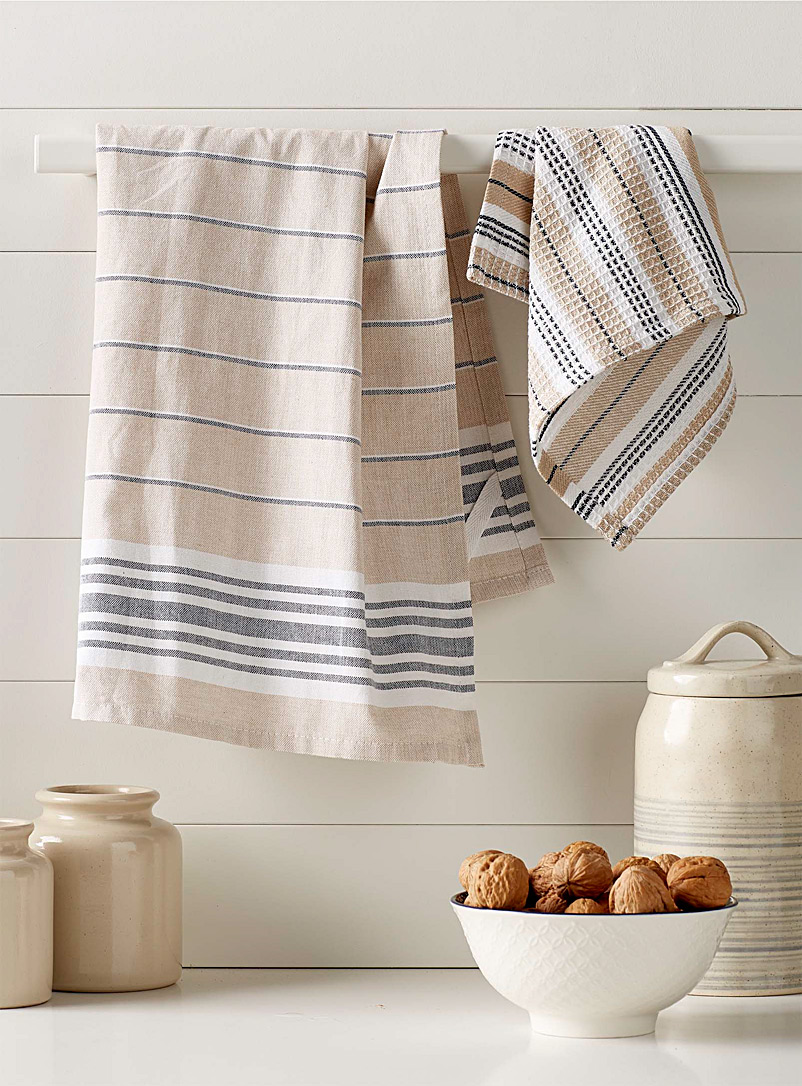 Simons Maison Patterned Ecru Denim stripe organic cotton tea towels
