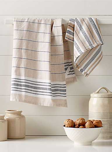 Denim stripe organic cotton tea towels