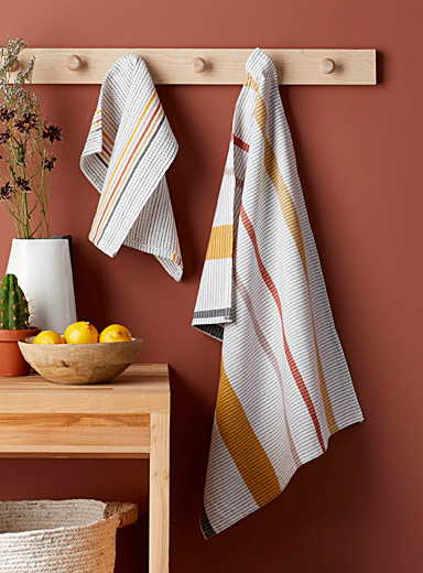 Brick stripe organic cotton tea towels