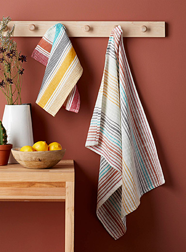 Mixed stripe faux-linen tea towels
