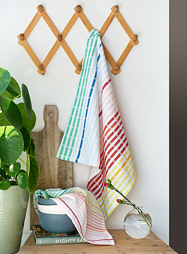 Rainbow-coloured organic cotton tea towels