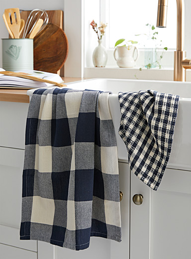 Gingham check organic cotton tea towels