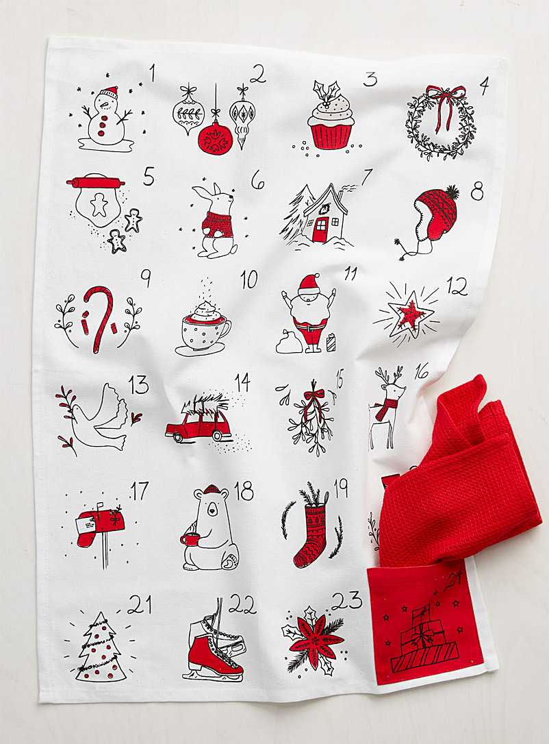Advent calendar tea towels - Kitchen Linens - Patterned White