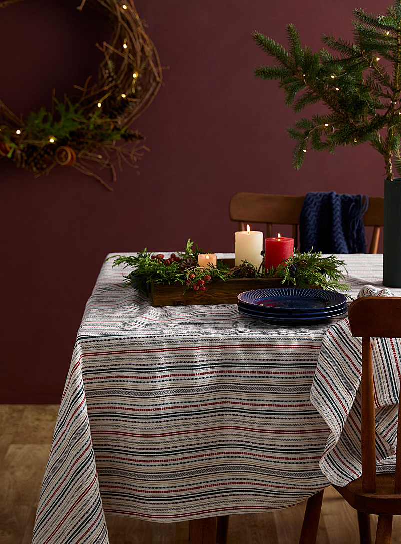 Festive stripe woven cotton tablecloth