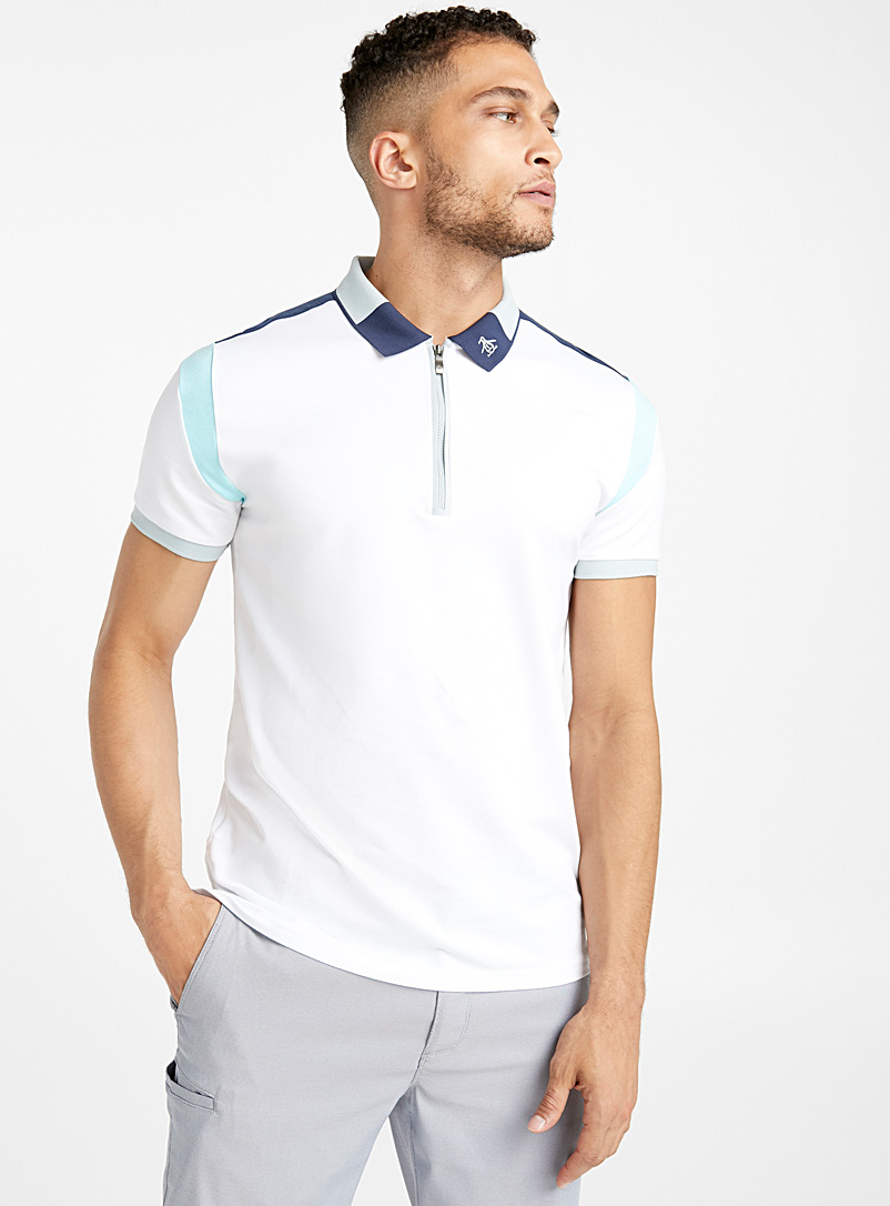 Staycation contrasting insert polo - Polos - Patterned White