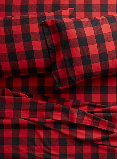 Buffalo check flannel sheet  Fits mattresses up to 15 in.