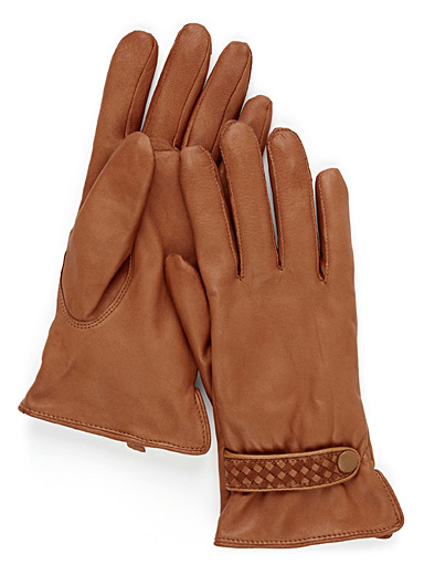 Braided-accent leather gloves