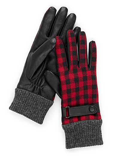 Hunter check leather gloves