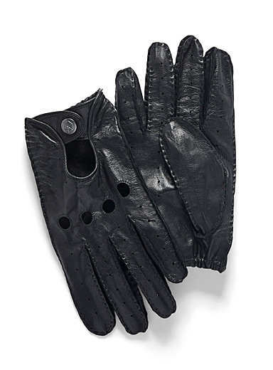 Topstitched leather driving gloves