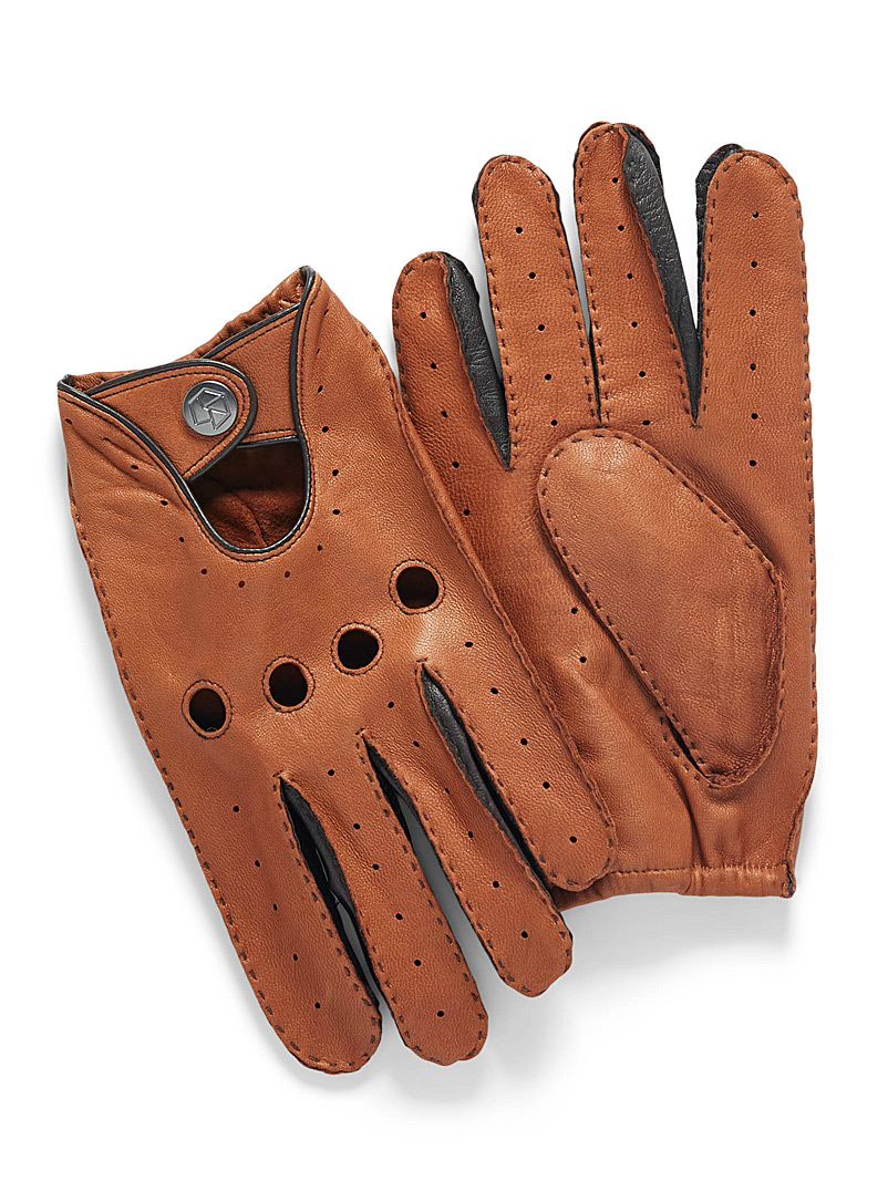Le 31 Fawn Topstitched leather driving gloves for men