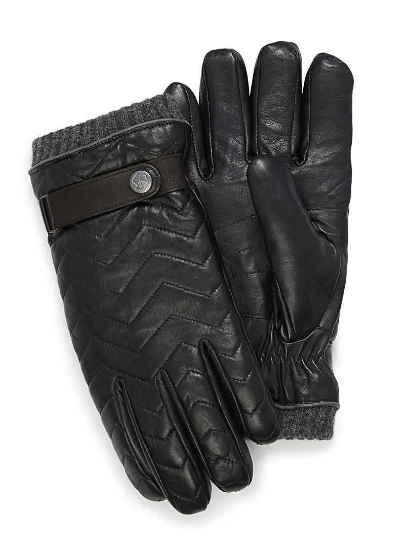 Lined herringbone leather gloves