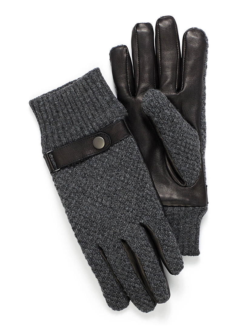 Knit and leather gloves - Leather & Suede - Black