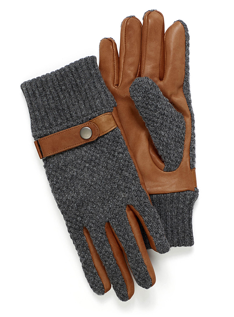 Knit and leather gloves - Leather & Suede - Fawn