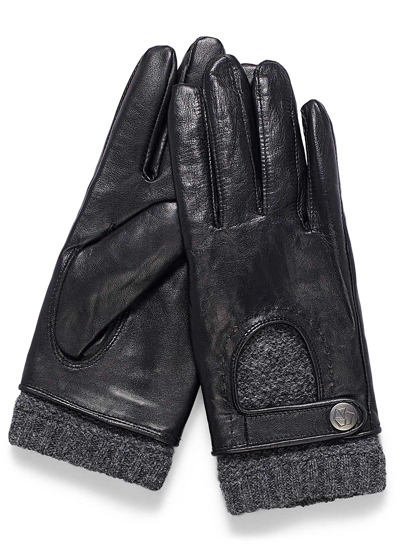 Knit and leather driving gloves