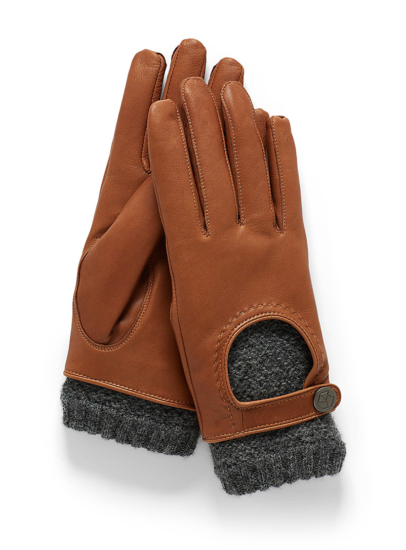 Brume Brown  Knit and leather driving gloves for women