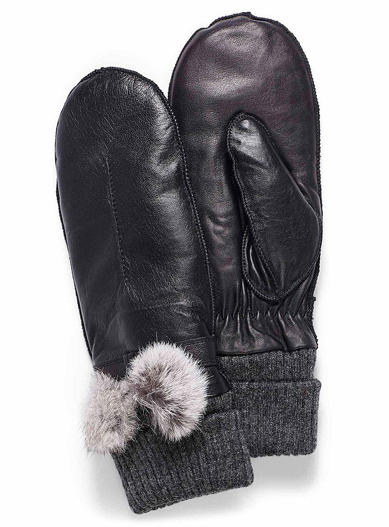 Fur pompom mittens - Leather & Suede - Black