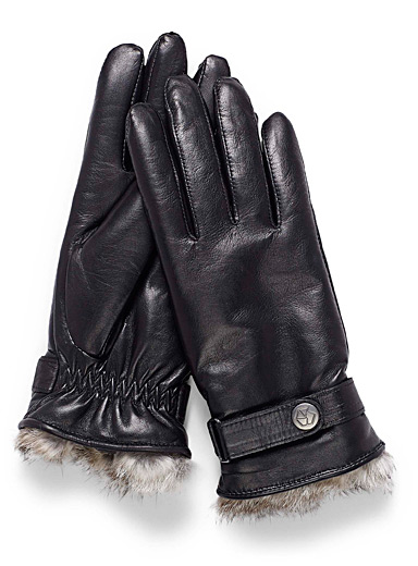 Belted leather gloves