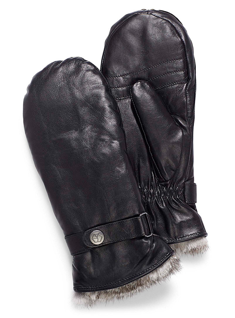 Belted leather mittens - Leather & Suede - Black