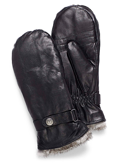 Belted leather mittens