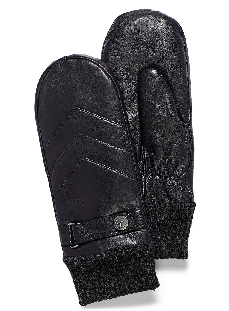 Herringbone belted mittens - Leather & Suede - Black