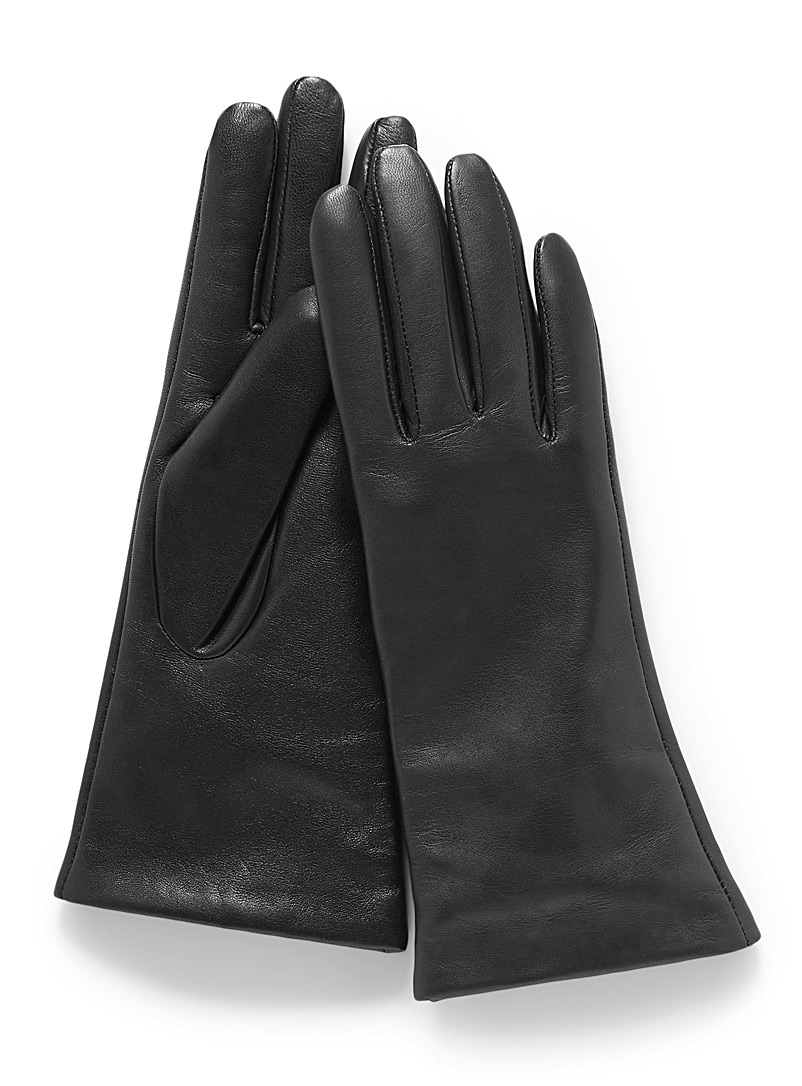 Brume Black Smooth leather cashmere-lined gloves for women
