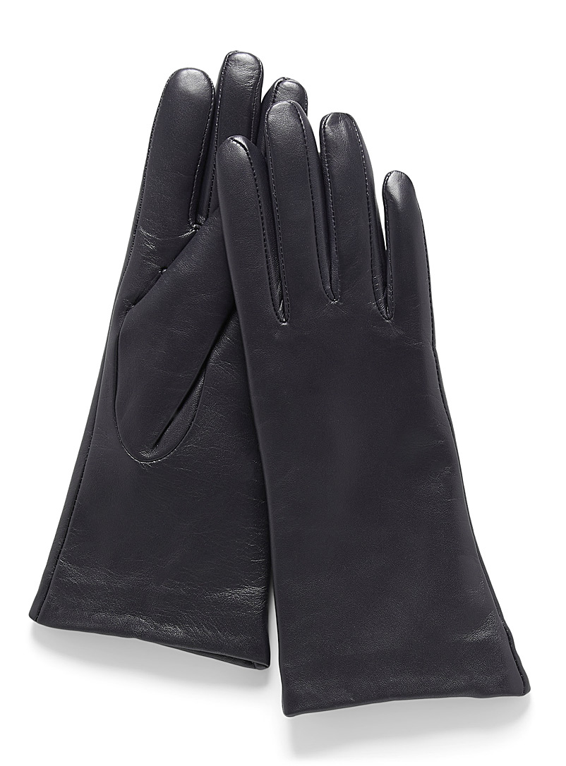 Smooth leather cashmere-lined gloves