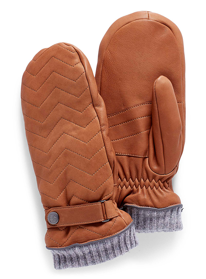 Herringbone leather mittens