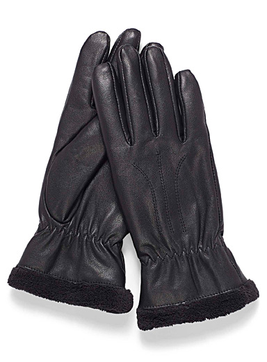 Grainy leather gloves